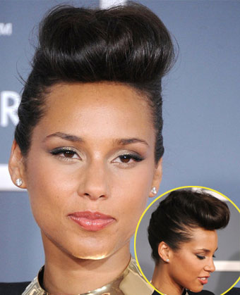 Alicia Keys' Chic Updo with Pompadour