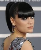 Jessie J's Dark Sleek High Ponytail with Full Fringe