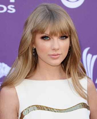Taylor Swift's Long Straight Haircut With Blunt Bangs