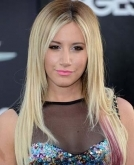Ashley Tisdale's Long Straight Hair with Pink/Purple Streak