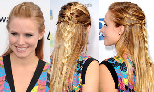 Kristen Bell's intricate braids from different angles