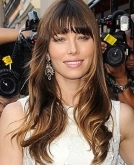Jessica Biel's Wavy Hairstyle with Bangs