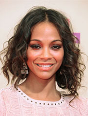 Zoe Saldana lob hairstyle for oval face shape