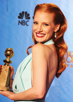 best hairstyle of the Golden Globes 2013 Jessica Chastain
