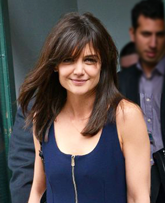 Katie Holmes' layered long hair with bangs