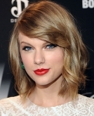Taylor Swift's textured bob with side swept bangs