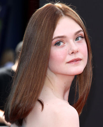 Elle Fanning's Pin Straight Brown Hair