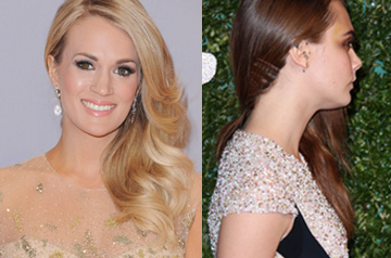 Carrie Underwood one-shoulder waves 2015 Christmas party hairstyle