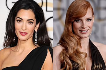 Best long hair – Jessica Chastain and Amal Clooney