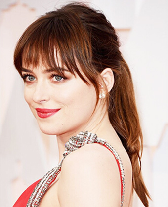 Dakota Johnson's sweet pony with bangs