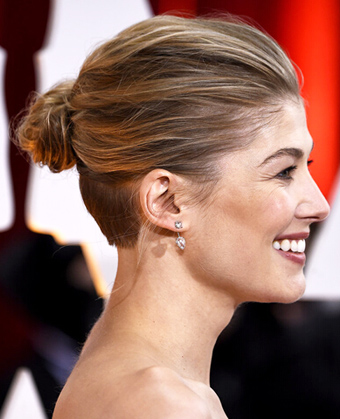 Rosamund Pike's stylish undercut with bun