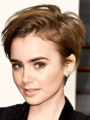 Lily Collins  pixie short haircut