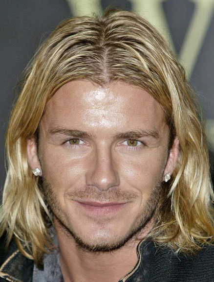 David Beckham S Long Hairstyle With Highlight