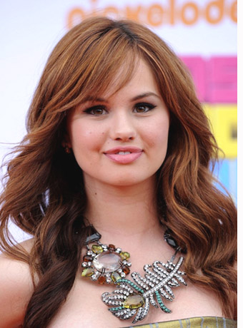 Debby Ryan's Long, Brown Curls with Side-Swept Bangs at ...