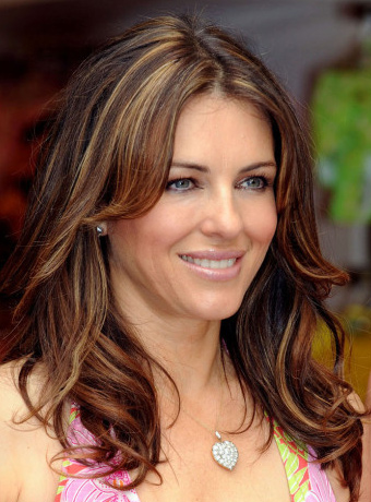 Elizabeth Hurley S Long Highlighted Hairstyle