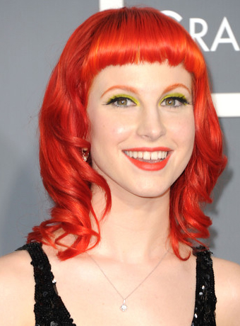 Hayley Williams Shoulder Length Curly Red Hairstyle
