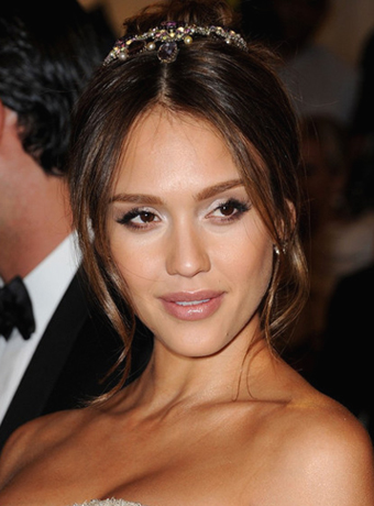 Jessica Alba's Simple Updo with Hair Jewelry