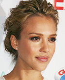 Jessica Alba's Hairstyles: Mussed-up Texture and V-Shaped Fringe