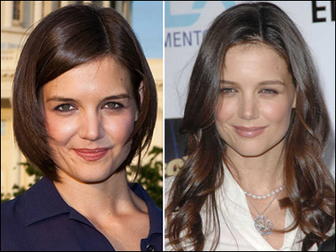 Katie Holmes's Hairstyles: Short Side-set and Long Waves