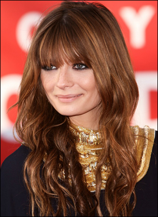 Mischa Barton Long Auburn Curly Hairstyle with Bangs