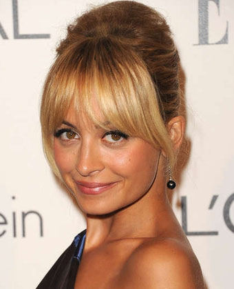 Nicole Richies Chic Updo Hairstyle With Bangs