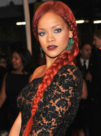 Rihanna's Long, Red Braided Hairstyle