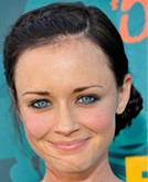 Alexis Bledel's Side-parted Low Bun Hairstyle with Braid at 2009 Teen Choice Awards
