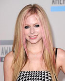 Avril Lavigne's Straight Hair with Bubblegum Pink Strands