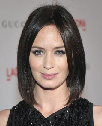 Emily Blunt S Dark Sleek Lob Haircut