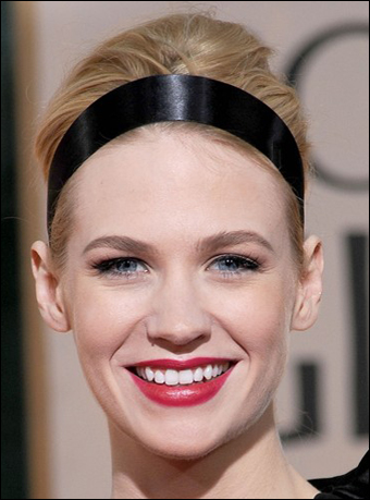January Jones's High Updo Hairstyle with Headband at 2010 Golden Globe