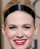 January Jones's High Updo Hairstyle with Headband at 2010 Golden Globe Awards