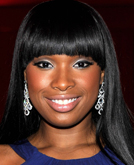 Jennifer Hudson's Black Straight Hair with Bangs at 2010 Oscars After Party