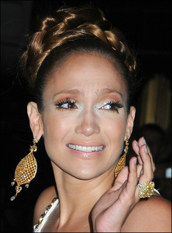 Jennifer Lopez's High Updo with Braid Hairstyle