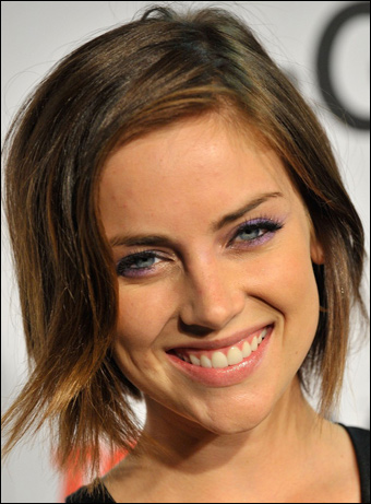 Jessica Stroup wearing short hairstyle attends the Vivienne Westwood ...