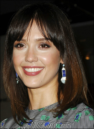 medium length bob hairstyle. Jessica Alba Shoulder Length Bob Hairstyle with Bangs