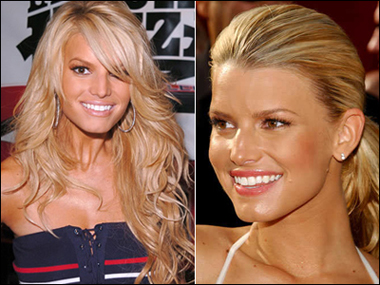 Jessica Simpson's Hairstyles: Long Wavy and Pull-back