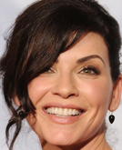 Julianna Margulies's Updo hairstyle with Side-bangs at 2010 Golden Globe Awards