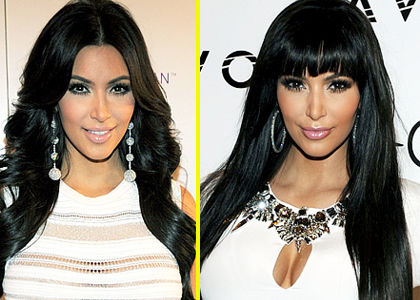 Kim Kardashian kicked off 2012 with a new look'bangs!