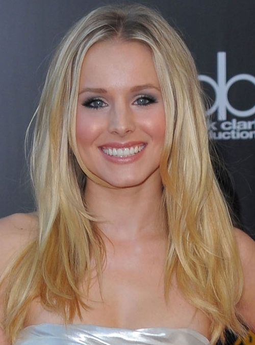Kristen Bell S Mid Parted Loosen Long Hairstyle At The