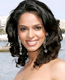 Mallika Sherawat  Dark Medium Hairstyle