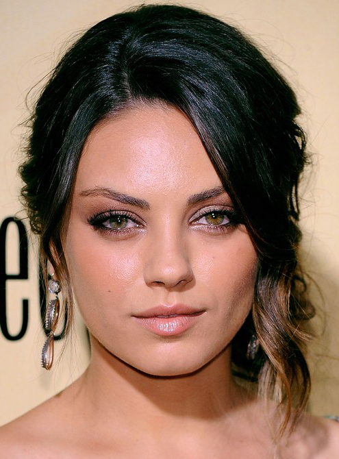 Mila Kuniss Elegant Low Updo Hairstyle With Wave