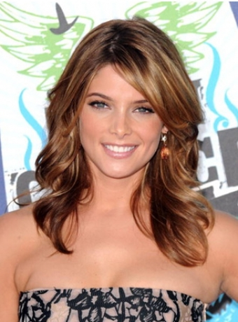Ashley Green's Layered Hairstyle With Side Swept Bangs