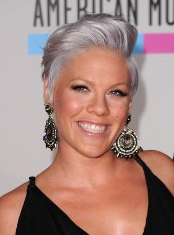 Pink's Funky Gray Short Hair