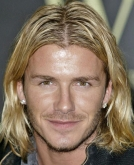 David Beckham's Long Hairstyle with Highlight