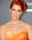 Bonnie Mckee's Red Sleek Updo