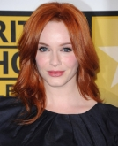Christina Hendricks' Glossy Red Wavy Hairstyle