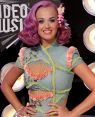 Katy Perry's Medium Purple Wavy Hairstyle