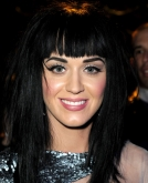 Katy Perry's Black Straight Hairstyle with Bangs