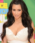 Kim Kardashian's Glamourous Long Culrs with Side Braid