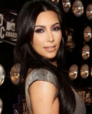 Kim Kardashian's Glossy Center-Parted Long Hair